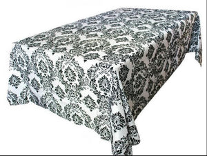 "60""x126"" Black White Damask Flocking Tablecloth Wedding All Events Decorations"""