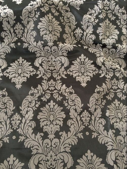 5 Yards Royal Grey Black Flocking Damask Taffeta Velvet 15ft Fabric 58