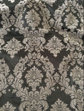 "5 Yards Royal Grey Black Flocking Damask Taffeta Velvet 15ft Fabric 58"" Flocked"""