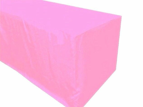 6' Ft. Fitted Polyester Tablecloth Trade Show Booth Banquet Table Cover Pink