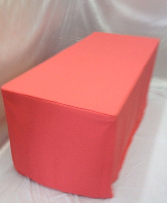 4' Ft. Fitted Polyester Tablecloth Wedding Event Table Cover Coral