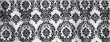 "Black White Flocking Damask Taffeta Velvet  Fabric 58"" Flocked Decor"""