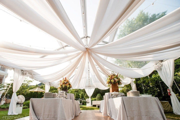 10 ft x 21 ft Ceiling Draping Sheer Voile Chiffon Ceiling Drape Panel Wedding