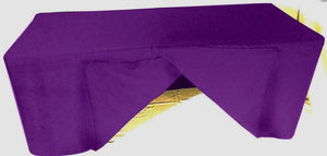 4' Ft. Fitted Slit Open Back Polyester Tablecloth Trade Show Table Cover Purple""