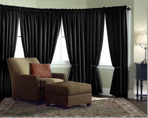 Velvet Curtain Panel Drape 5w X 12h Black Home Theater Energy Efficient Curtain