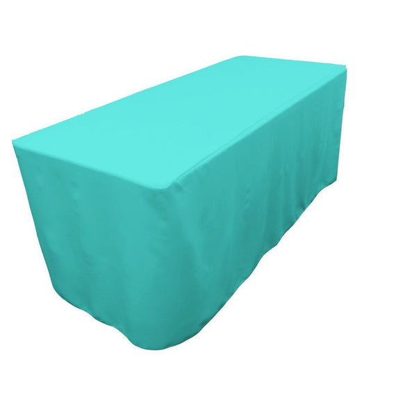 4' Ft. Fitted Polyester Table Cover Trade Show Event Tablecloth Tiffany Blue