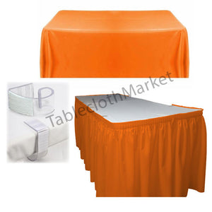 Polyester Pleated Table Set Skirt With Clips 14' Ft.  + Clip + Topper Media Day""