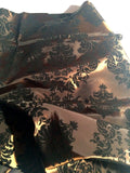 "Brown And Black Flocking Damask Taffeta Velvet Fabric 58"" Flocked Decor"""