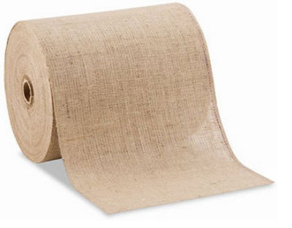 12 Inch Wide 100 Yards Roll 10 Oz Hemmed Jute Burlap Home Decor ( Surged Edges )