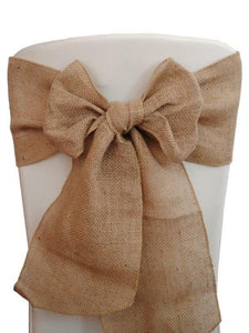 "25 Burlap Chair Sashes 6""x108"" Wedding Event Parties Shows 100% Natural Jute"""