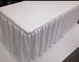 8' Fitted Polyester Double Pleated Table Skirting Cover W/top Topper Shows White""