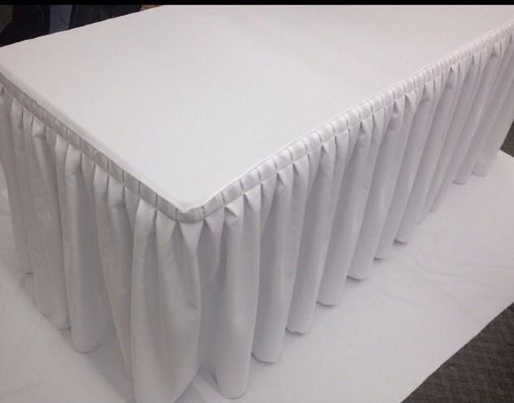 8' Fitted Polyester Double Pleated Table Skirting Cover W/top Topper Shows White