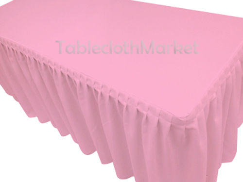8' Fitted Polyester Single Pleated Table Skirting Cover W/top Topper 24 Colors