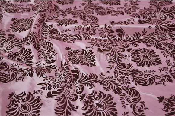 10 Yards Pink Brown Flocking Damask Taffeta Velvet  Fabric 58