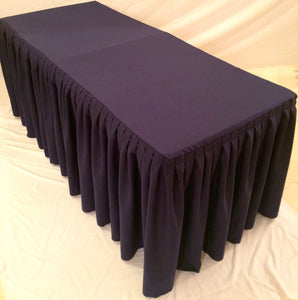 4' Fitted Polyester Double Pleated Table Skirt Cover w/Top Topper Booths  Purple""