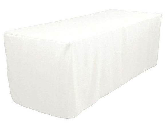 6' Ft Fitted Polyester Tablecloth Slit Back Tablecover Trade Show Booth 18 Color