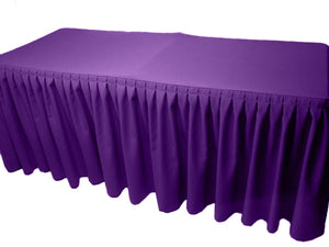 4' Fitted Polyester Double Pleated Table Skirting Cover W/top Topper 21 Colors""