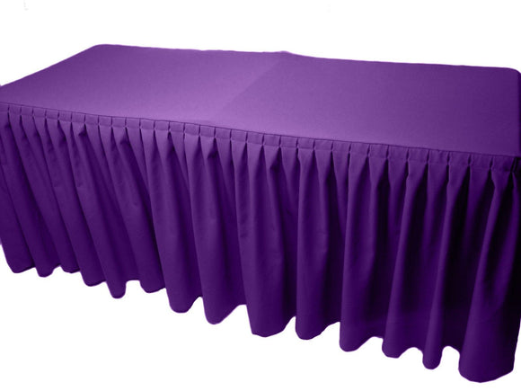 4' Fitted Polyester Double Pleated Table Skirting Cover W/top Topper 21 Colors