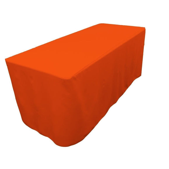 8' Ft. Fitted Polyester Table Cover Wedding Banquet Event Tablecloth Orange