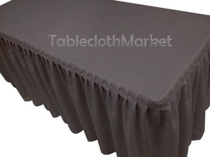 5' Fitted Polyester SINGLE Pleated Table Skirting Cover w/Top Topper 24 COLORS""