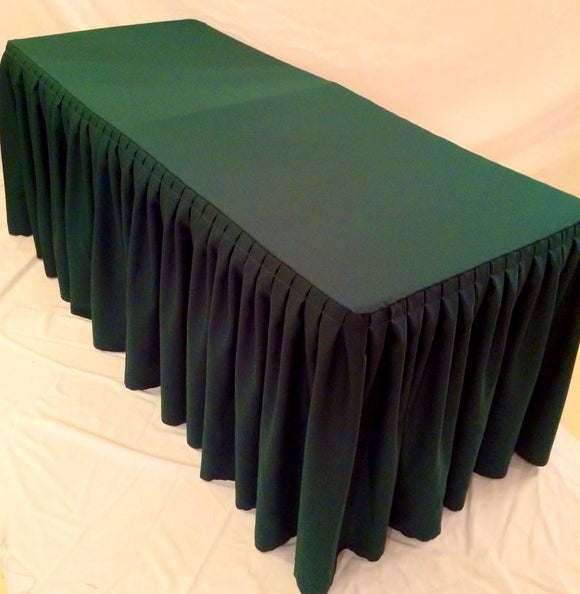 8' ft. Fitted Polyester Double Pleated Table Skirting Cover w/Top Topper Green