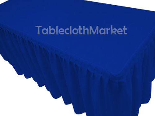 6' Fitted Table Skirting Cover W/top Topper Single Pleated Trade Show Royal Blue
