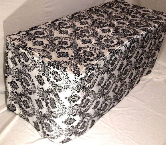 8' Ft. Fitted Black White Damask Flocked Taffeta Tablecloth Table Cover Wedding