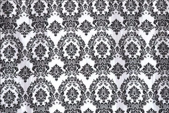 Black White Flocking Damask Taffeta Velvet  Fabric 58