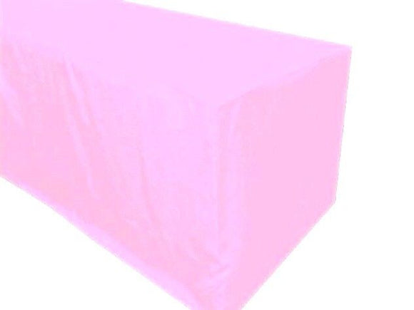 6' Ft. Fitted Polyester Tablecloth Trade Show Booth Party Table Cover Light Pink