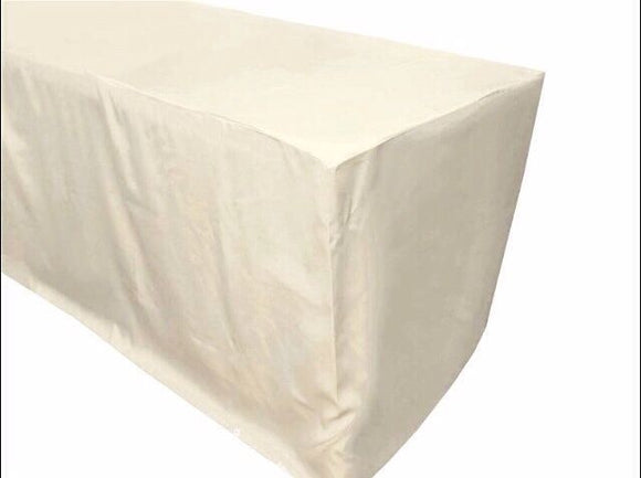 8' Ft. Fitted Polyester Table Cover Wedding Trade Show Booth Dj Tablecloth Ivory