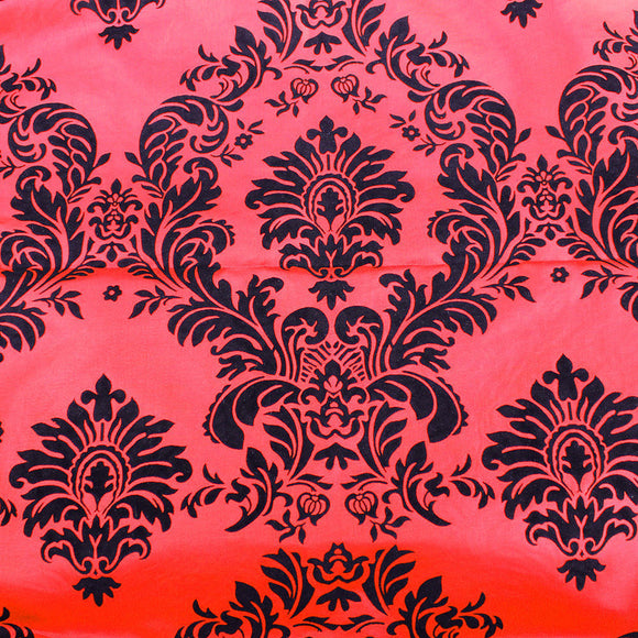 Red And Black Flocking Damask Taffeta Velvet Fabric 58