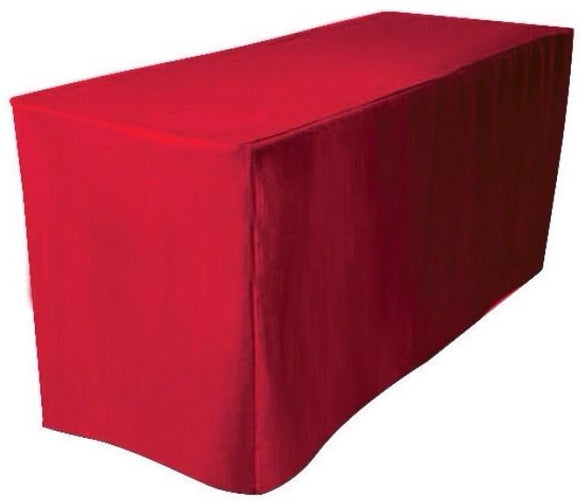 5' Ft. Fitted Polyester Table Cover Trade Show Booth Banquet Dj  Tablecloth Red