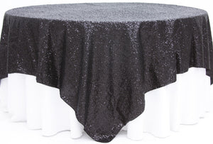 "Sequin Overlay 90"" — 90"" Sparkly Shiny Tablecloth Design 4 COLORS WEDDING Party"""