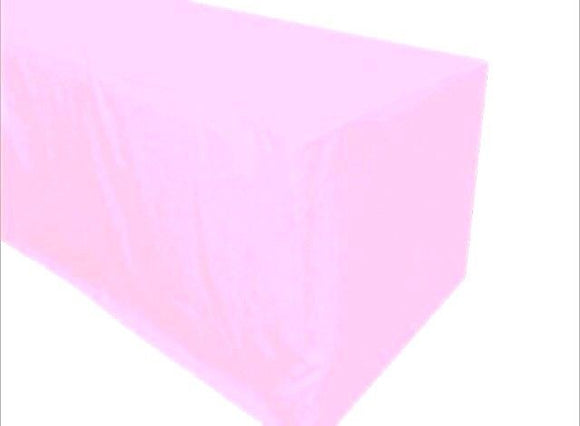 5' Ft. Fitted Polyester Table Cover Tablecloth Trade Show Booth Party Light Pink