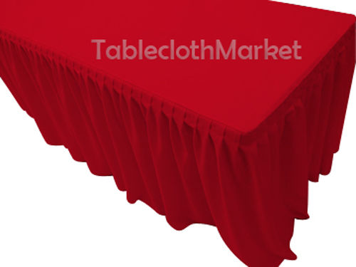 4' Fitted Polyester Single Pleated Table Skirting Cover W/top Topper 24 Colors