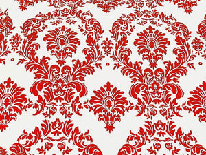 "15 Yards Red And White Flocking Damask Taffeta Velvet  Fabric 58"" Flocked Decor"""