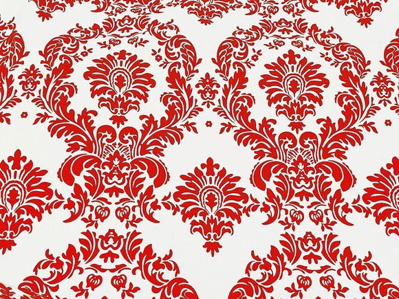 15 Yards Red And White Flocking Damask Taffeta Velvet  Fabric 58