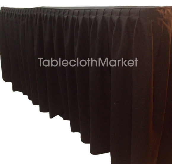 8' Ft. Fitted Table Skirting Cover W/ Top Topper Single Pleated Trade Show Black