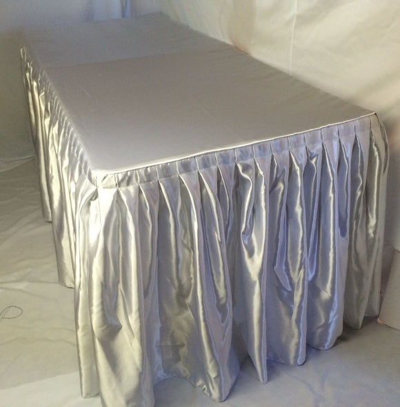 8' Satin Fitted Double Pleated Table Skirting Cover W/top Topper Any Event White
