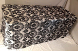 5' ft. Fitted Black White Damask Flocked Taffeta Tablecloth table cover Wedding""