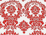 "5 Yards Red And White Flocking Damask Taffeta 15ft Velvet Fabric 58"" Decor 3d"""