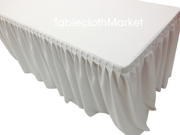 8' Fitted Table Skirt Cover W/ Top Topper Single Pleated Trade Show Events White