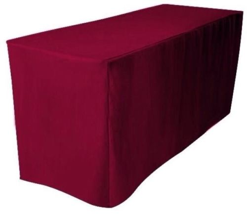 4' Ft. Fitted Polyester Table Cover Trade Show Booth Banquet Tablecloth Burgundy
