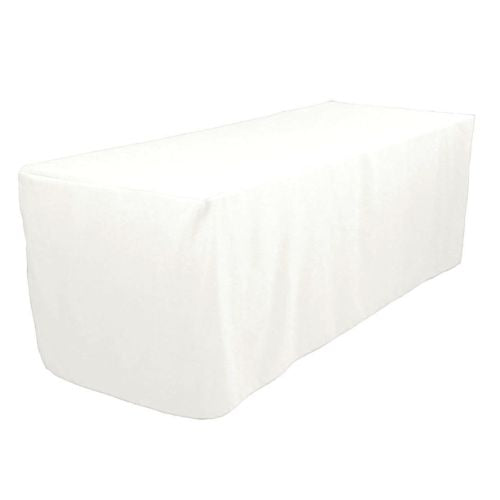 4' Ft. Fitted Polyester Tablecloth Trade Show Booth Wedding Table Cover White