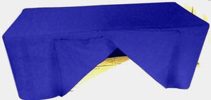 4' ft. Fitted SLIT OPEN BACK Polyester Tablecloth SHOWS Table Cover Royal Blue