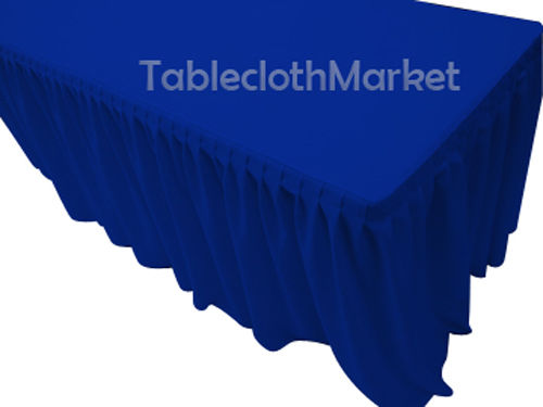 5' Fitted Table Skirting Cover w/Top Topper Single Pleated Trade show Royal Blue