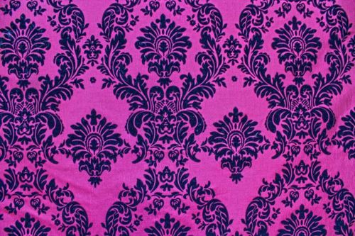 25 Yards Fuchsia Black Flocking Damask Taffeta Velvet  Fabric 58