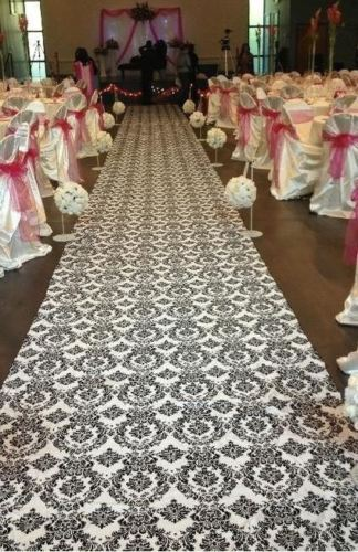 100 ft Flocking Damask Taffeta Wedding Aisle Runner Black White Flocked Fabric
