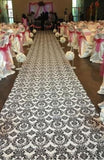 100 ft Flocking Damask Taffeta Wedding Aisle Runner Black White Flocked Fabric""