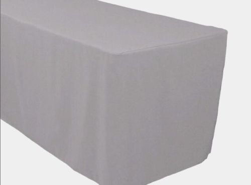 6' Ft. Fitted Polyester Tablecloth Trade Show Booth Banquet Table Cover Silver